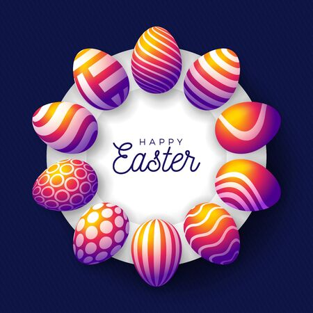 Easter insta color egg banner. Easter card with eggs laid out in a circle on a white plate, rainbow ornate eggs on purple modern background. Vector illustration. Place for your text
