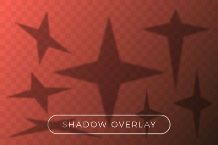 Vector star set shadow overlay. Many star in different perspective and shadow angle of incidence elements on transparent background. Overlay texture on transparent background