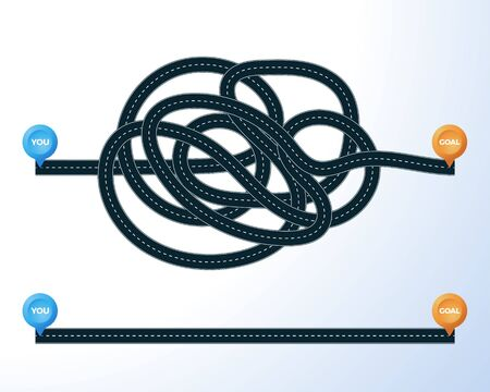 The road from point you to goal. right and wrong way with messy line. concept of true and false path or straight and winding road or mind idea. Traffic route concept wrong or hard way.