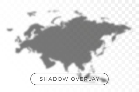 Asia and Europe World map shadow realistic grey decorative background vector illustration. Transparent shadow overlay effects for branding. Planet map shadows for natural light effects Иллюстрация