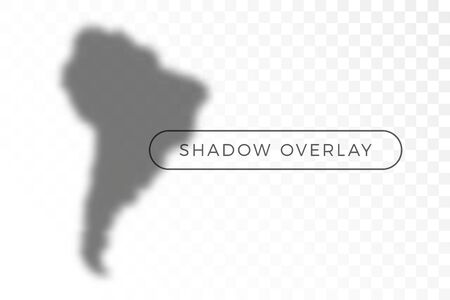 South America World map shadow realistic grey decorative background vector illustration. Transparent shadow overlay effects for branding. Planet map shadows for natural light effects. Shadow and light Иллюстрация