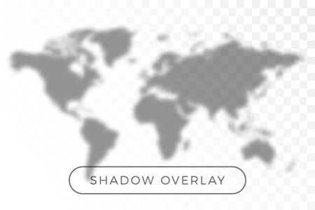 World map shadow realistic grey decorative background vector illustration. Transparent shadow overlay effects for branding. Planet map shadows for natural light effects. Shadow and light Иллюстрация