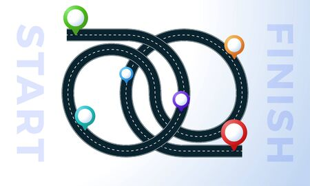 The road from point start to finish. Colorful map pin with concept of hard path or straight and winding road or mind idea. Traffic route concept wrong or hard way. Illustration
