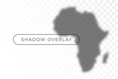 africa World map shadow realistic grey decorative background vector illustration. Transparent shadow overlay effects for branding. Planet map shadows for natural light effects. Shadow and light