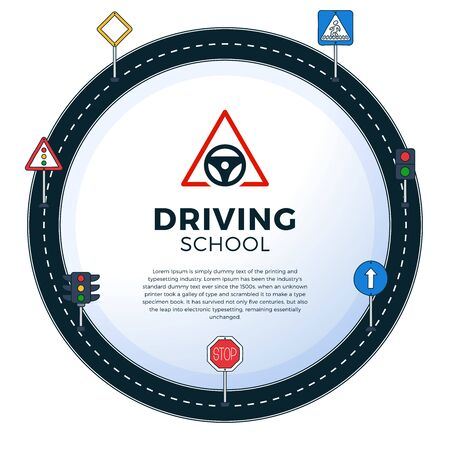Road Sign Drive School Flyer Banner Posters Card circle frame Education Driving Rules. Vector illustration Stock Illustratie