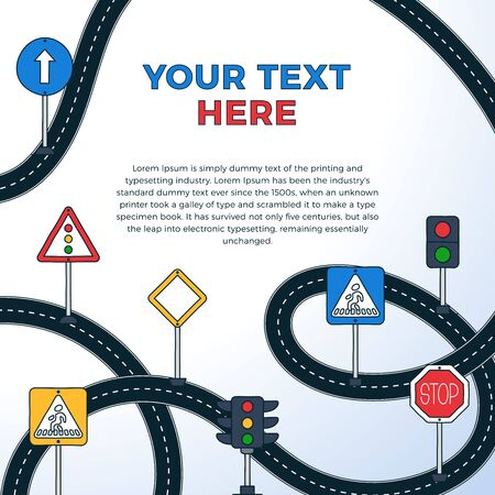 Road Sign Drive School Flyer Banner Posters Card square format Education Driving Rules. Vector illustration.