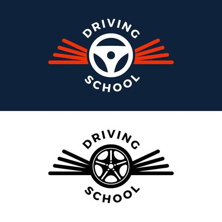 Driving school . car wheel with road sign design. Training, vehicle, transport and transportation, vector design and illustration