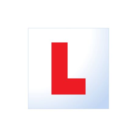 Letter L learner driver plate icon. cartoon flat style trend modern driving school logotype graphic art design element. concept of badge for vehicle control education or exam or learning for chauffeur