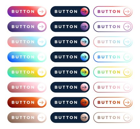 Colorful vector button set on white background. Three style Flat line gradient slide button collection with text and arrow. Vector web element. Round and rectangle shapes