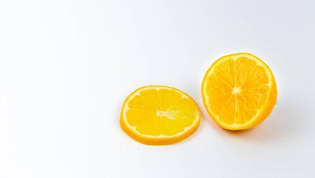 Collection of orange slices. Circle orange fruit slice isolated on white background.