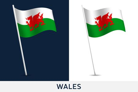 Wales vector flag. Waving national flag of Wales isolated on white and dark background. Official colors and proportion of flag. Vector illustration. European football 2020 tournament final stage