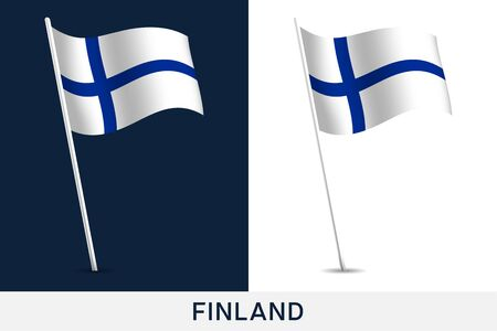 Finland vector flag. Waving national flag of Finland isolated on white and dark background. Official colors and proportion of flag. Vector illustration. European football 2020 tournament final stage