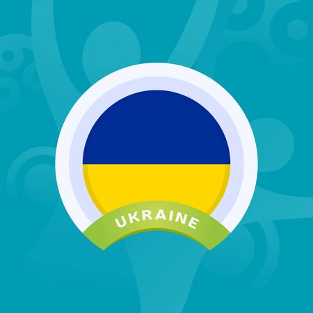 Ukraine vector flag. European football 2020 tournament final stage. Official championship colors and style