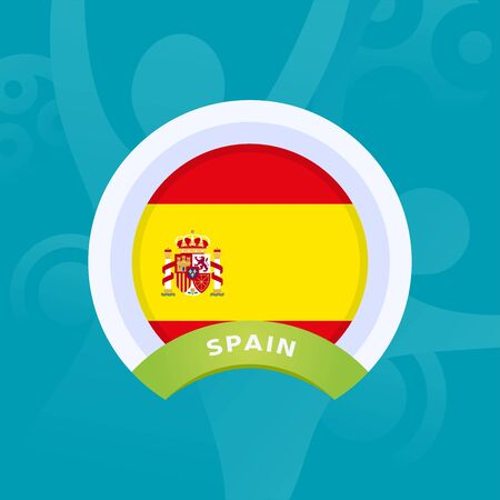 Spain vector flag. European football 2020 tournament final stage. Official championship colors and style