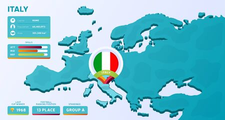Isometric map of Europe with highlighted country Italy vector illustration. European football 2020 tournament final stage infographic and country info. Official championship colors and style
