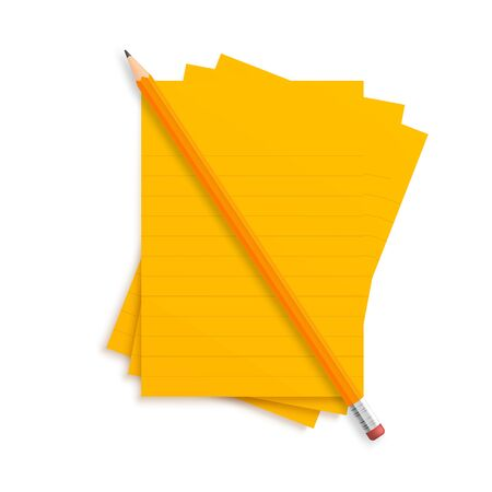 Orange realistic vector pencil lies with rubber and clips on a stack of lined paper stripes on a green school desk background