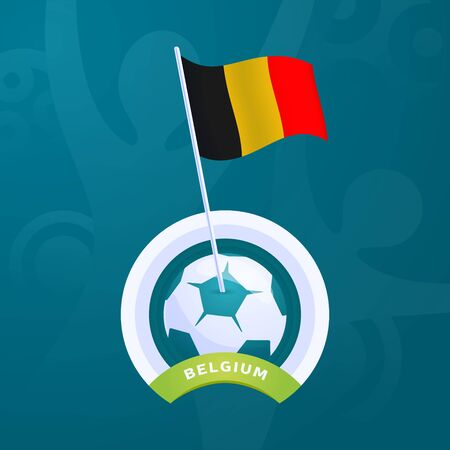 Belgium vector flag pinned to a soccer ball. European football 2020 tournament final stage. Official championship colors and style