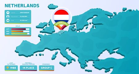 Isometric map of Europe with highlighted country Netherlands vector illustration. European football 2020 tournament final stage infographic and country info. Official championship colors and style