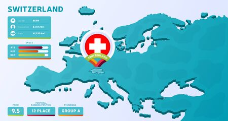 Isometric map of Europe with highlighted country Switzerland vector illustration. European football 2020 tournament final stage infographic and country info. Official championship colors and style
