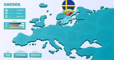 Isometric map of Europe with highlighted country Sweden vector illustration. European football 2020 tournament final stage infographic and country info. Official championship colors and style