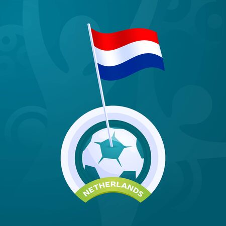 Netherlands vector flag pinned to a soccer ball. European football 2020 tournament final stage. Official championship colors and style Vector Illustration