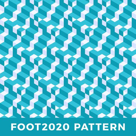Cube line isometric seamless pattern design. Modern Flat Isometric vector seamless pattern Background. Colorful Vector Texture with Cubes. Football 2020 official color Ilustração