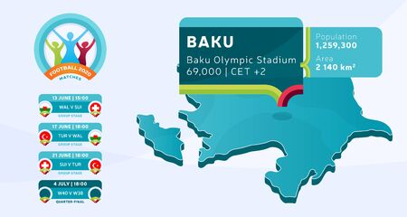 Isometric Azerbaijan country map tagged in Baku stadium which will be held football matches vector illustration. Football 2020 tournament final stage infographic and country info Vector Illustration