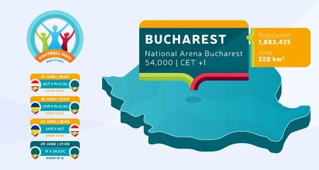 Isometric Romania country map tagged in Bucharest stadium which will be held football matches vector illustration. Football 2020 tournament final stage infographic and country info