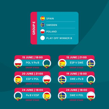 Football 2020 tournament final stage group E vector stock illustration with matches schedule. 2020 European soccer tournament with background. Vector country flags Vectores