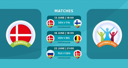 Schedule of matches of the Denmark national team in the final stage at the European Football Championship 2020. Vector illustration with the official gravel of football matches.