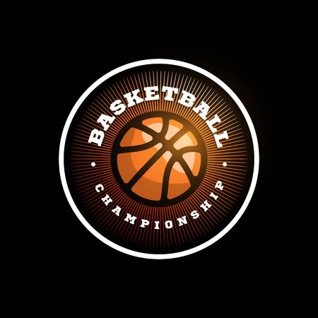Vector basketball league logo with ball. Orange color Sport badge for tournament championship or league
