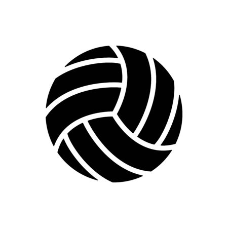 Vector black volleyball balls icon. Game equipment. Professional sport, classic vollyball ball set for official competitions and tournaments. Isolated illustration. Ilustración de vector