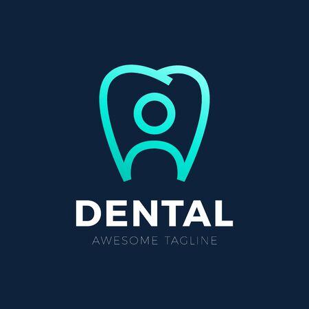 Creative human and teeth vector template for family dental clinic