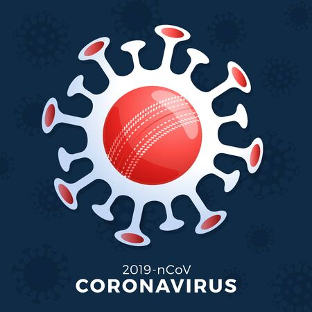 Cricket ball vector Sign caution coronavirus. Stop covid-19 outbreak. Coronavirus danger and public health risk disease flu outbreak. Cancellation of sporting events and matches concept