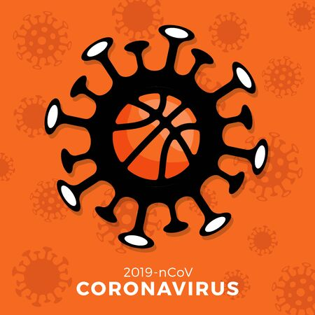Basketball vector Sign caution coronavirus. Stop covid-19 outbreak. Coronavirus danger and public health risk disease and flu outbreak. Cancellation of sporting events and matches concept Stock Illustratie