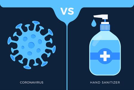 Banner hand sanitizer gel Antivirus vs or versus coronavirus concept protection covid-19 sign vector illustration. COVID-19 prevention design background.