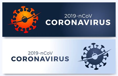 Vector poster of Flight cancelled with plain, virus 2019-ncov and forbidden sign. Flight cancelled illustration, Pandemic Novel coronavirus disease. Impact of Corona virus COVID-19.