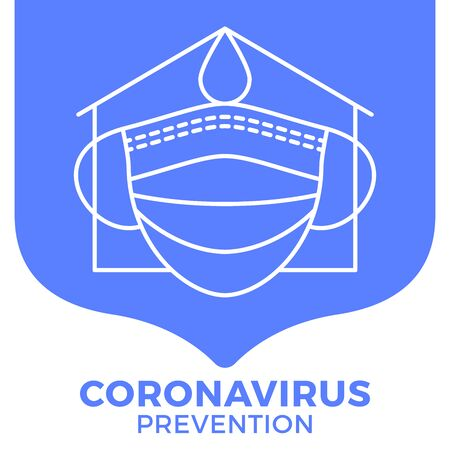 Prevention of COVID-19 all in one icon poster vector illustration. Coronavirus protection flyer with outline icon set. Stay at home, use face mask, use hand sanitizer