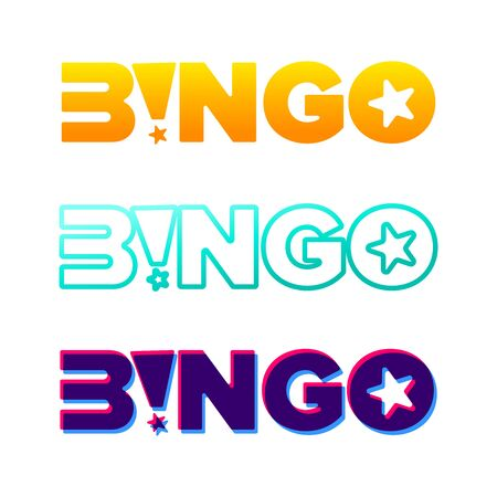 Bingo vector typography. Lottery retro glowing lettering. Game of chance and casino concept.