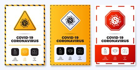 Prevention of COVID-19 all in one icon poster set vector illustration. Coronavirus protection flyer with outline icon set and road warning sign. Stay at home, use face mask, use hand sanitizer Banco de Imagens - 143465164