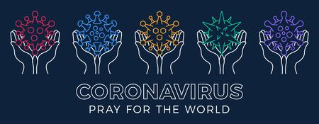 Set Pray for the World coronavirus concept with hands vector illustration. Collection Time to pray Corona Virus 2020 covid-19. Coronavirus vector illustration. Bundle Virus Covid 19-NCP.