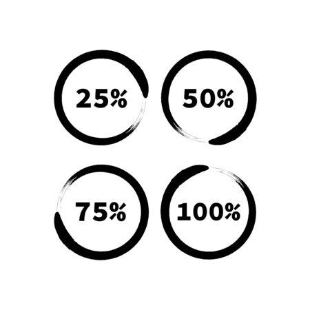 Black round progress bars in grunge style. Progress bar elements. Progress bar vector. Round progress bar. Interface element. Percent bar
