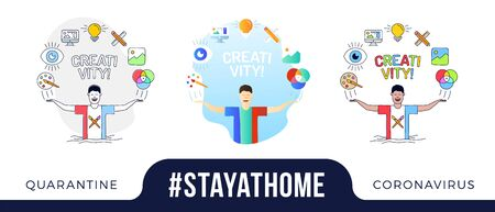 Stay at home concept illustration. character with his hands up and creativity Icons are arranged in a semicircle above the head. Coronavirus or Covid-19 protection vector illustration set