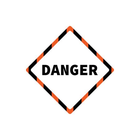 Flat yellow hazard warning symbol. Warning icon and sign of danger isolated on white background for use on web design, typography, ui, app, on the road and construction. 向量圖像