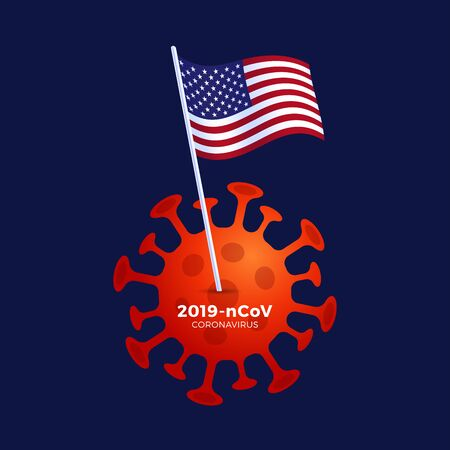 American lockdown caution coronavirus. with USA Flag stuck above coronavirus bacteria. USA plans to lock down as the Covid-19 spread Stock Illustratie