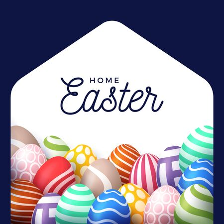Colorful Happy Home Easter 2020 Card with Funny Vector Minimalist Icon. staying at home badge in Quarantine.