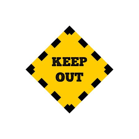 Yellow out sign with dotted line. vector icon
