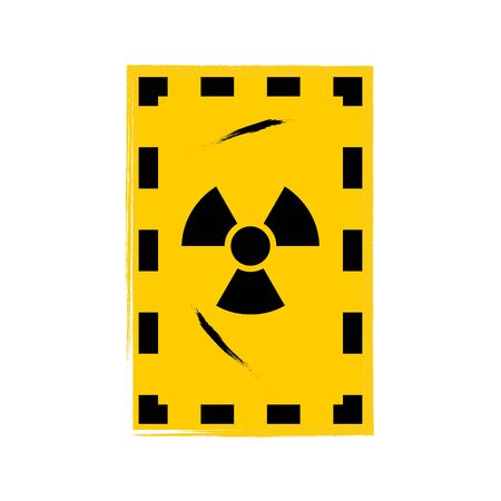 Grunge poster Radioactive. Vector illustration of sign on grunge yellow background. It can be used as a poster, wallpaper, t-shirts design.