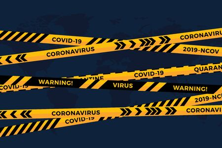 Vector biohazard danger yellow black tape on white paper cut world map background. Safety fencing ribbon. World quarantine flu. Warning danger influenza hazard. Global pandemic coronavirus COVID-19 Stock Illustratie