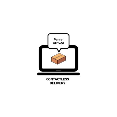 Contactless delivery concept illustration. Ordered products delivered at home, safe distance, ordering online, covid-19, coronavirus. Flat vector illustration, isolated objects.